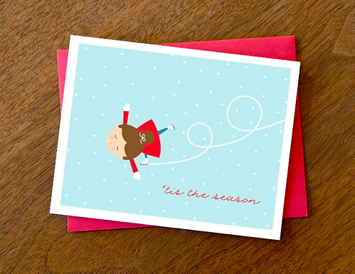 """""""'Tis the Season"""" Ice Skating Girl Card by Pennie Post"""