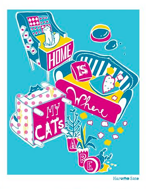 Home Is Where My Cats Are (Blue Version) Print by Harumo Bakery