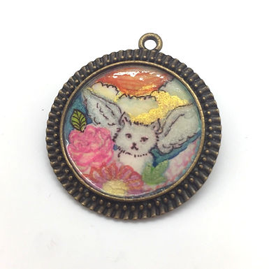 Winged Cat Pendant by April Gee