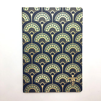 Peacock Fan Pattern Art Deco (A5 Lined) Notebook by Clairefontaine