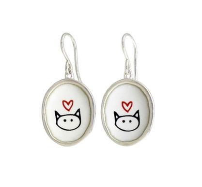 Love Kitty Enameled Earrings by Mark Poulin
