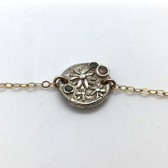 Silver Daisy Navy Bracelet by Petite Sunflower Shop