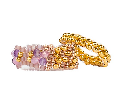 Amethyst Sparkly Stitched Ring Set by Petite Sunflower Shop