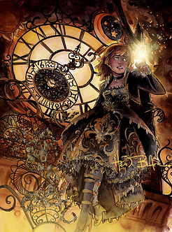 """Clockwork"" Signed Gold Foil Print by Heidi Black"