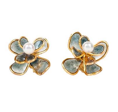 Navy Peony Pearl Stud Earrings by Petite Sunflower Shop
