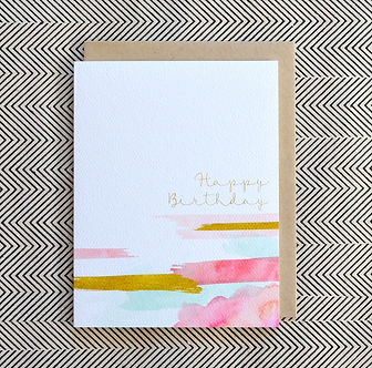 Painted Strokes Happy Birthday Card by Pennie Post