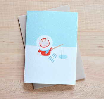 Cat Ice Fishing Card by Pennie Post
