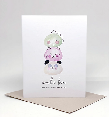 """""""Mochi Love for the Birthday Girl"""" Card by Pennie Post"""