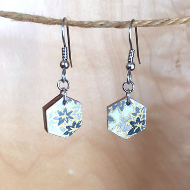 Small Hexagon Maple Leaf Drop Earrings by Chibi Jay Designs