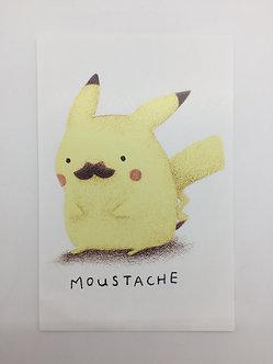 Pikachu Mustache Print by Ria Art