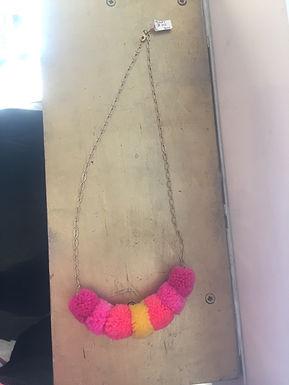 Pink Orange and Yellow 7 Pom Pom Necklace by Crystal Vielula