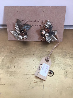 Antique Beaded Clip On Earrings by Yudefi