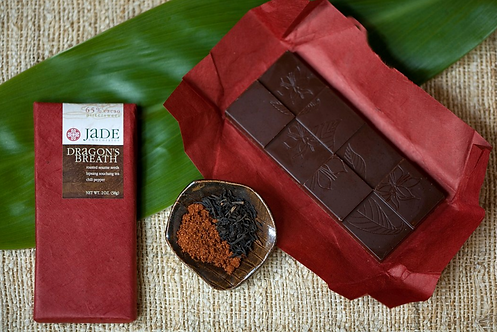 "65% ""Dragon's Breath"" Sesame Seed + Chili + Tea Chocolate Bar by Jade Chocolates"