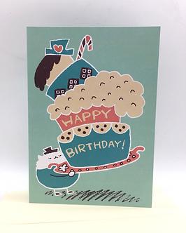 Happy Birthday Cat Card by Harumo Bakery
