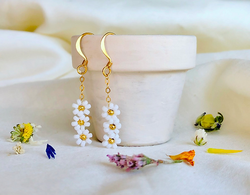 Daisy Trio Beaded Earrings by Petite Sunflower Shop
