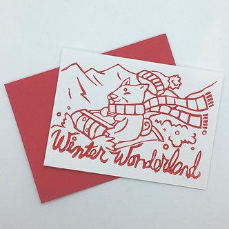 """""""Winter Wonderland"""" Shiba Inu Dog Handmade Card by Jennifer Lay"""