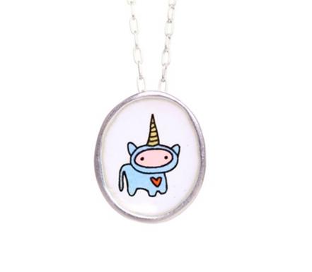 Little Enameled Unicorn Heart Necklace by Mark Poulin