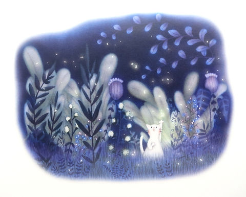 Cat and Fireflies Fantasy Print by Ria Art