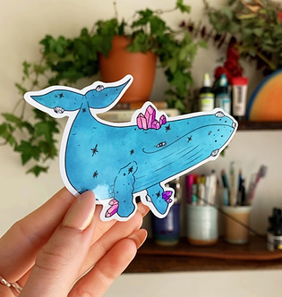 Holographic Crystal Whale Sticker by Jess Weymouth