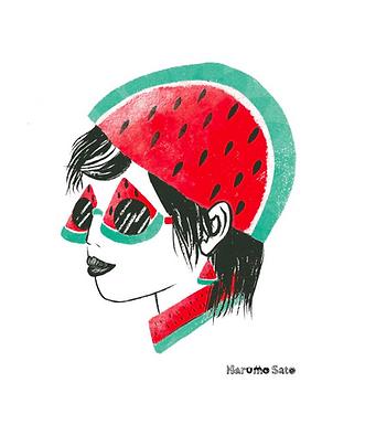 Watermelon Girl Print by Harumo Bakery