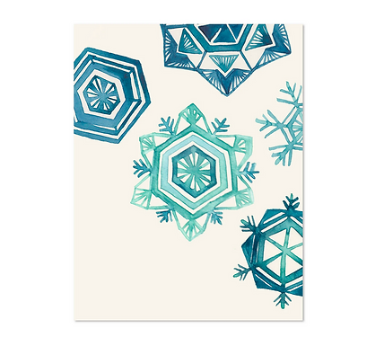 Holiday Snowflakes Greeting Card by Curio Wolf