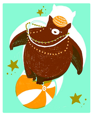 Magical Bear Walking on Ball Print by Harumo Bakery