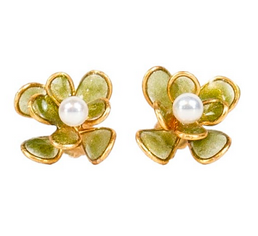 Mustard Peony Pearl Stud Earrings by Petite Sunflower Shop