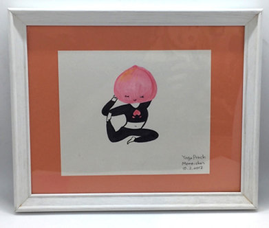 "Framed Original ""Yoga Peach, Momo-chan"" by Harumo Sato"