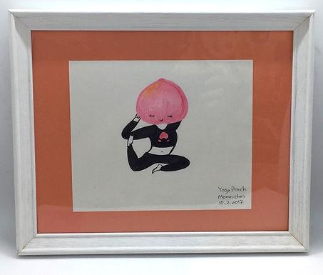 "Framed Original ""Yoga Peach, Momo-chan"" by Harumo Sato"