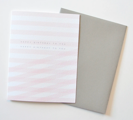 Overlapping Pink Stripes Happy Birthday Card by Pennie Post