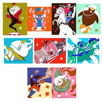 Set of 8 Circus Prints by Harumo Sato