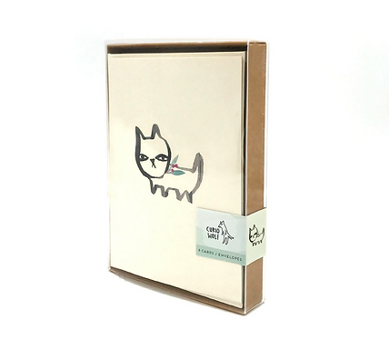Boxed Set of 8 Holiday Rufus Greeting Cards by Curio Wolf