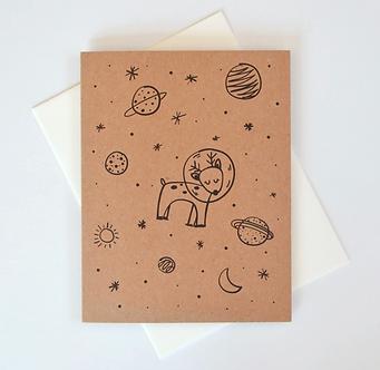 Space Reindeer Holiday Card by Pennie Post