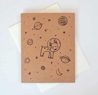 Space Reindeer Holiday Card by Pennie Post