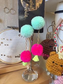 Pom Pom Earrings by Crystal Vielula