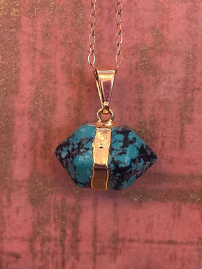 Blue and black stone necklace