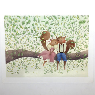 Cute Squirrel Couple Print by Ria Art