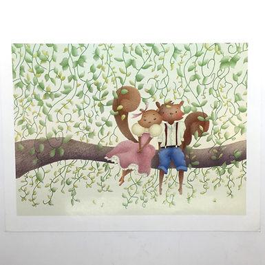 Cute Squirrel Couple Print by Ria Art