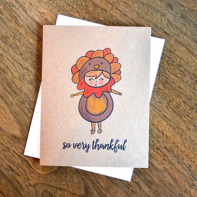 Turkey Costume Thanksgiving Card by Pennie Post