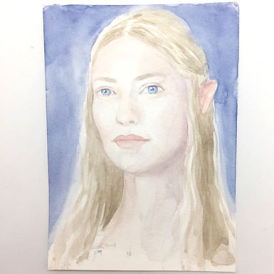 Lord of the Rings Galadrial Original Watercolor by Emily Hare