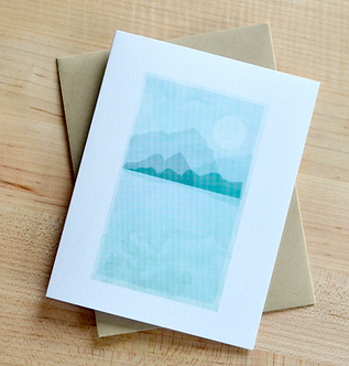 Mountains and Moon Card by Pennie Post
