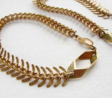 Fishbone Chain and Honeycomb Link Bracelet by Sora Designs