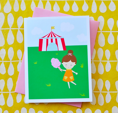 Cotton Candy Carnival Girl Card by Pennie Post