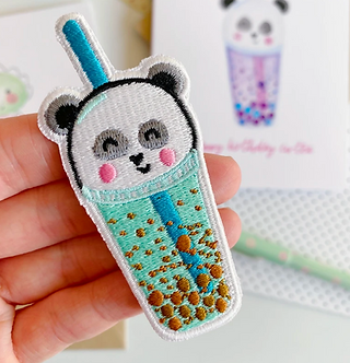 Iron on Panda Boba Milk Tea Embroidered Patch by Pennie Post
