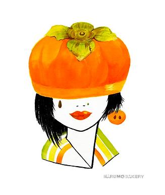 Persimmon Girl Print by Harumo Bakery