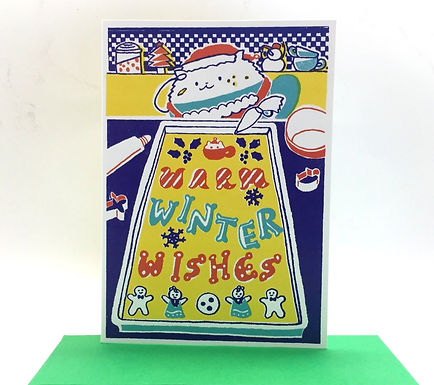 """Warm Winter Wishes"" Cappuccino Cat Card by Harumo Bakery"