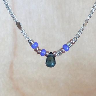 Sapphire Drop Necklace by Petite Sunflower Shop