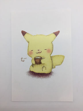 Pikachu Coffee Print by Ria Art