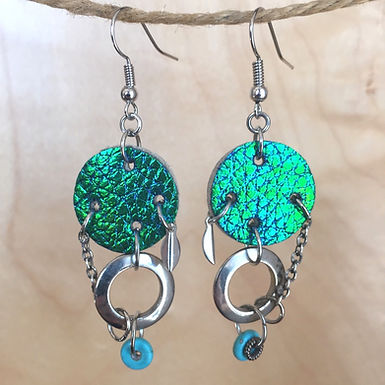 Teal Luminescent Leather Earrings by Emily Brooks