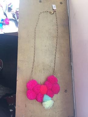 Heart Cluster Pom Pom Necklace by Crystal Vielula
